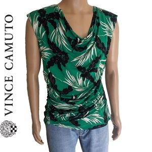 Vince Camuto Tropical Palm Print Sleeveless Top